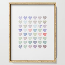 Watercolor painting hearts pattern, pastel cute hearts Serving Tray