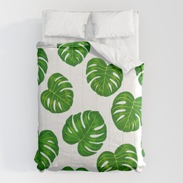 Green Tropical Monstera Deliciosa Leaves Comforters