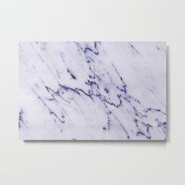 Deep Blue Streaked Marble Metal Print