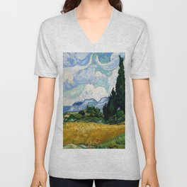 """Vincent van Gogh """"Wheat Field with Cypresses"""" Unisex V-Neck"""