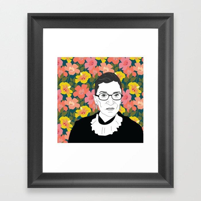 Ruth Bader Ginsburg Floral Gerahmter Kunstdruck