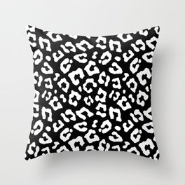 Large Black and White Leopard Spots Animal Print Throw Pillow