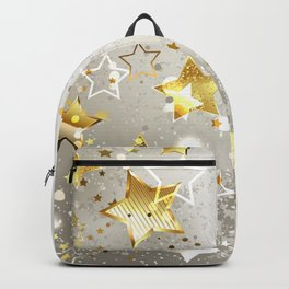 Gray Background with Gold Stars Backpack