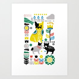 Scandinavian French Bulldog Art Print