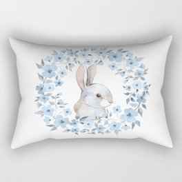 Rabbit and floral wreath. Watercolor Rectangular Pillow