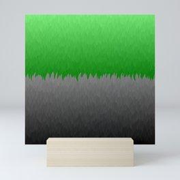 Bright Green to Gray Ombre Flames Mini Art Print
