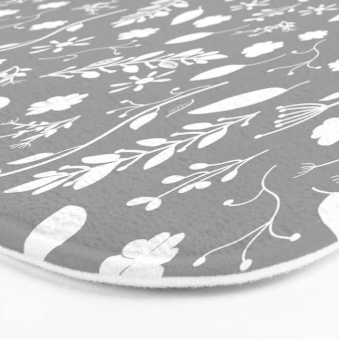 Floral Grey White Bath Mat