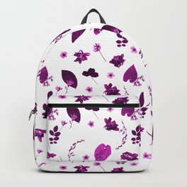Purple Floral Pattern Pressed Flowers and Leaves Backpack
