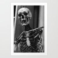 skeleton Art Prints featuring Skeleton by Evan Morris Cohen