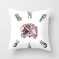 teeth Throw Pillows featuring Teeth by Ilya kutoboy