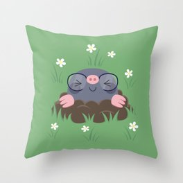 Cute little moles Throw Pillow