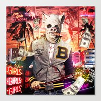 hotline miami Canvas Prints featuring Night Out: Hotline Miami by GiancarloVargas