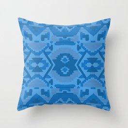 Geometric Aztec in Cobalt Throw Pillow