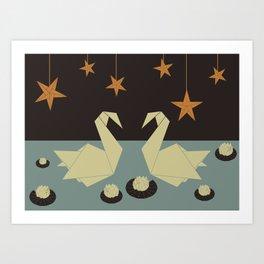 Origami swan Art Print