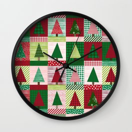Christmas tree forest quilt pattern cute red and green holiday gifts Wall Clock