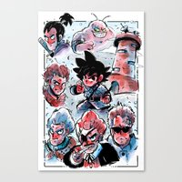 dragonball Canvas Prints featuring Dragonball - Muscle Tower  by Toonimated