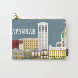 Savannah, Georgia - Skyline Illustration by Loose Petals Carry-All Pouch