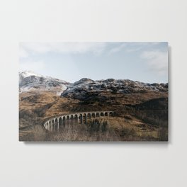 Travel Photography | Scotland | Train Track | Moody | Scottish Mountains Metal Print