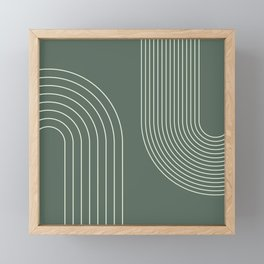 Geometric Lines in Sage Green 5 (Rainbow Abstraction) Framed Mini Art Print