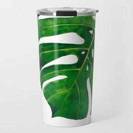 Monstera leaf in watercolor Travel Mug