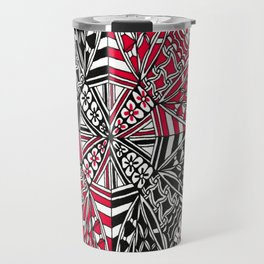 Red and Black Zendala Travel Mug