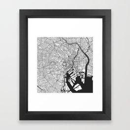 Tokyo Map Gray Framed Art Print