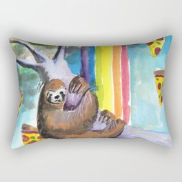 sloth pizza rainbow Rectangular Pillow