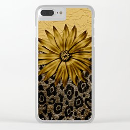 Animal Print Brown and Gold Animal Medallion Clear iPhone Case