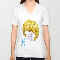 pisces V-neck T-shirts featuring Pisces by Aloke Design