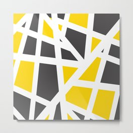 Abstract Interstate  Roadways Gray & Yellow Color Metal Print