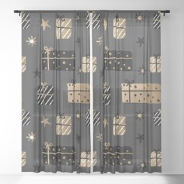 Christmas presents in black and gold Sheer Curtain