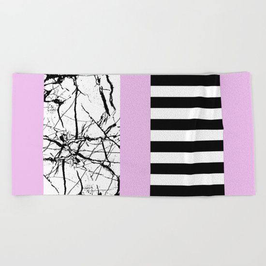 Stripes N Marble 2 - Black and white stripes and marble patterns on a pastel pink background Beach Towel