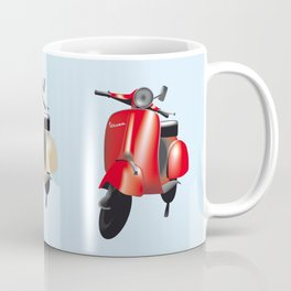 Three Vespa scooters in the colors of the Italian flag Coffee Mug