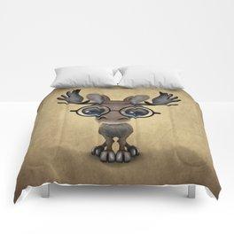 Cute Curious Baby Moose Nerd Wearing Glasses Comforters