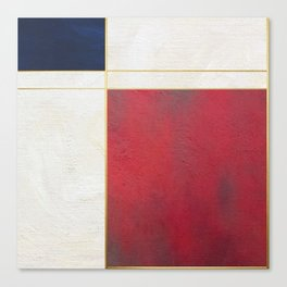 Blue, Red And White With Golden Lines Abstract Painting Canvas Print
