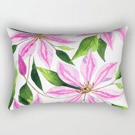 Watercolor Clematis Florwers Rectangular Pillow
