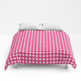 Farmhouse Gingham in Dark Pink Comforters