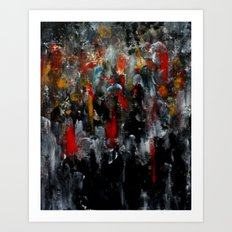 Red Coats In The Crowd Cityscape Part 2 Art Print