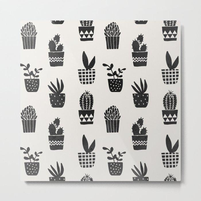 Desert Potted Cactus + Succulents Metal Print