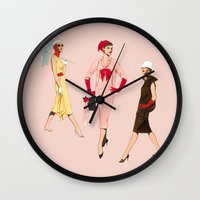 givenchy Wall Clocks featuring 1950's Girls by Tom Tierney Studios