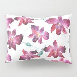Hand drawn pattern Beautiful watercolor pink Orchid Pillow Sham