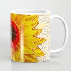 Modern Art Red Centered Yellow Sunflower Pattern Design Mug