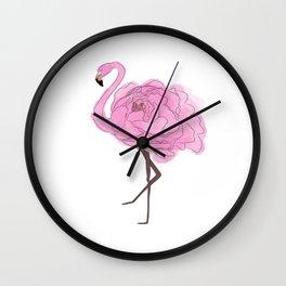 Pink Rose Flamingo 2 Wall Clock