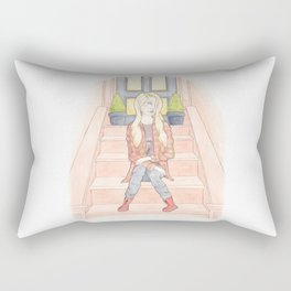 Sam, a 90s Grunge Music Fan in a Flannel Shirt, Band T-shirt, DM Boots Watercolor Illustration Rectangular Pillow