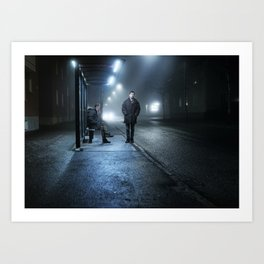 By the bus stand Art Print