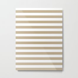 Narrow Horizontal Stripes - White and Khaki Brown Metal Print