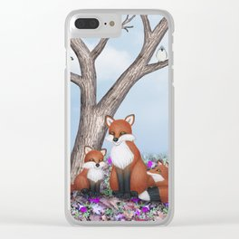 fox, cubs and tufted titmice Clear iPhone Case
