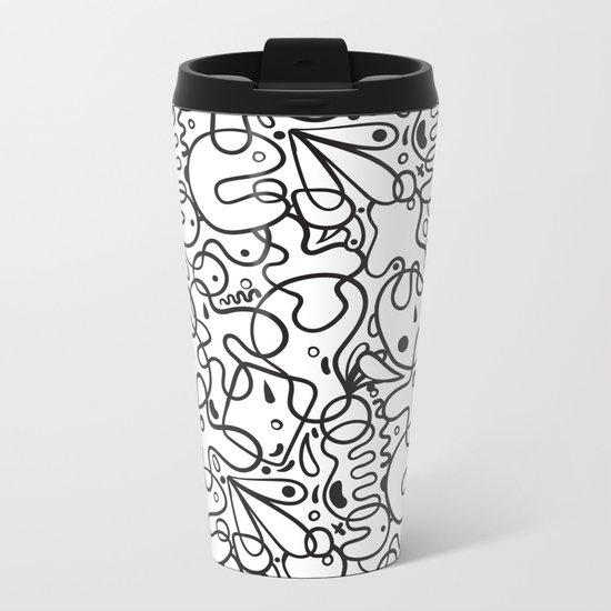 Black & White Blobs Metal Travel Mug