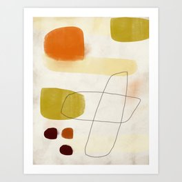 Three Brown Pebbles with Hollow Forms Art Print