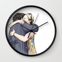 hug Wall Clocks featuring Hug by Alessia Pelonzi